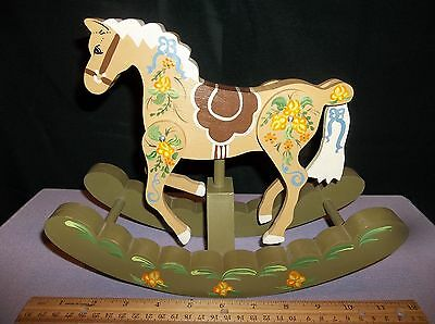 Hand painted Wooden Rocking Horse w Movable Legs and Tail for Child's Room