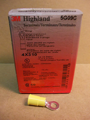 Ring Terminal Connector 12/10AWG #10 Stud, 3M Highland, Vinyl, Box of 50