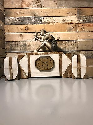 BANK HOL⚡️SALE -20% Off £515. Beautiful Art Deco Marble Clock And Garnitures