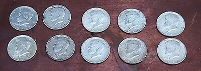 Lot of 10 90% Silver 1964 Kennedy Half Dollars Coins Circulated