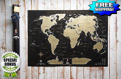 Deluxe Travel Edition Scratch Off World Map + Original Tube, Indispensable Gift