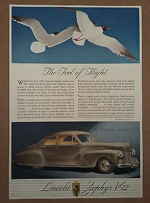1942 Lincoln Zephyr V12 Automobile Car Ad Sea Gulls