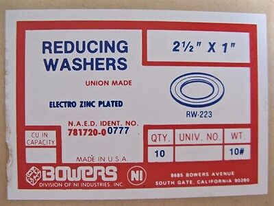 "Lot of 10 Bowers RW-223 Conduit Reducing Washers 2-1/2"" x 1"" New 2.5"""