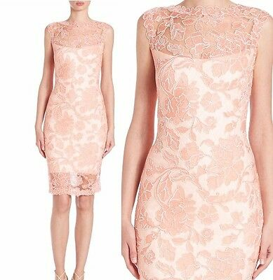 NWT Tadashi Shoji Sleeveless Floral Lace Sheath Dress Coral Blush Pink Size 14