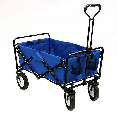 Folding Outdoor Utility Cart Collapsible Beach Wagon Durable Garden Buggy Blue