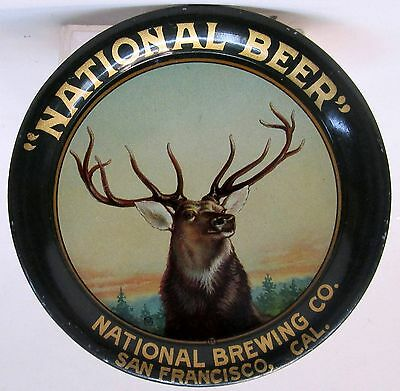 elk c.1908 NATIONAL BEER Brewing Co. SAN FANCISCO CAL tin litho tip tray ashtray