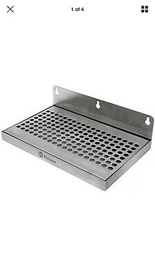 """New Beer Drip Tray 10"""" Stainless Steel Wall Mount No Drain"""