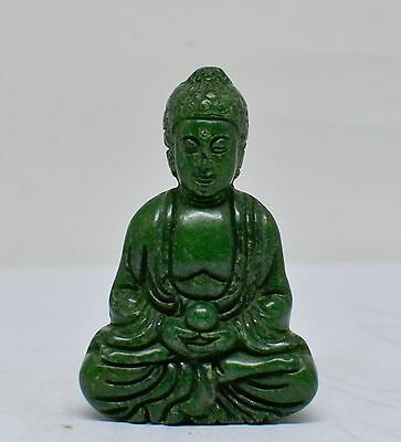 Hand Carved Green Stone Chinese Buddha Figurine / Pendant ~ 2.25 '' Tall  ~