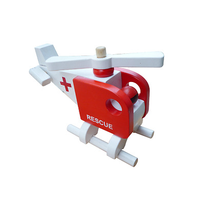 Wooden Vehicle Toys - Rescue Helicopter - 100 % Brand new - Safe Materials