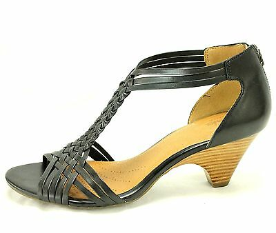 Clarks Women Ankle Strappy Wedge Heels Size 10 M Leather Black Brown