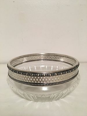 Antique Crystal Serving Bowl with Silver Rim