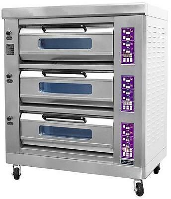 Apex Triple Stone Deck Infrared Electric Pizza Oven by FED PEO-6A Restaurant