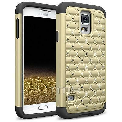 Fits Samsung Galaxy S5 Neo Case Rhinestone Bling Glitter Shockproof Cover - Gold