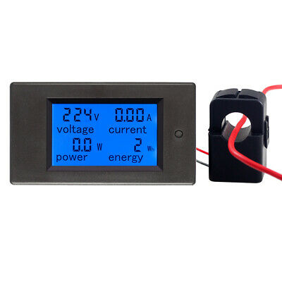 US 100A AC Digital LCD Current Monitor Energy Panel Meter Ammeter Voltmeter + CT