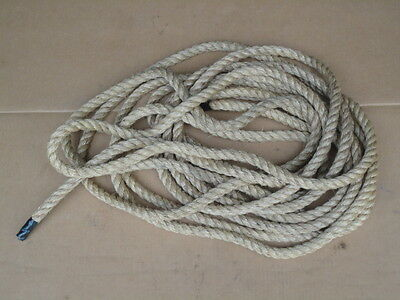 "50 Ft NOS 7/8"" Hemp Manila Sisal Barn Block & Tackle Pulley Rope Decorator Item"