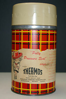 Vintage 1959 Plaid Thermos Metal Orange Yellow Black 10 oz Polly Top 5254