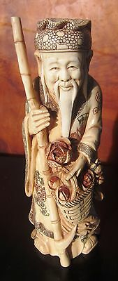 Very Fine Vintage Carved Chinese Domestic Bovine Bone Immortal? Sculpture Signed