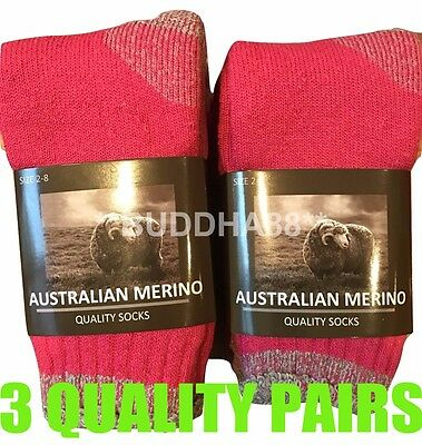 "3-Pairs Heavy Duty Womens ""Pink"" Australian Merino Extra Thick Wool Work Socks"