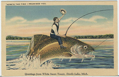 PZxg DEVILS LAKE MI Riding a Giant Trout 40s Michigan Exaggeration Postcard