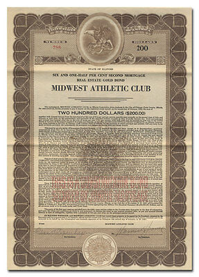Midwest Athletic Club Bond Certificate (Chicago)
