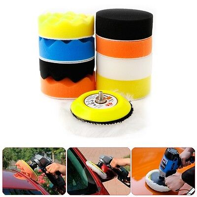 "10Pcs 3"" M6 Thread Polishing Buffing Buffer Pad Kit Car Polisher Air Sander"