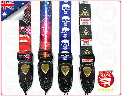 Guitar Strap Acoustic Electric Adjustable Assorted Designs High Quality Freedom