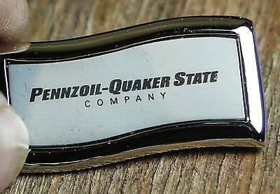 QUAKER STATE KEY CHAIN PENNZOIL COMPANY CHROME HEAVY FOB Oil COMPANY