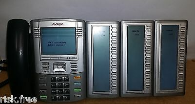 Nortel / Avaya 1140e IP Phone with 18 Button Sidecar Expansion x3