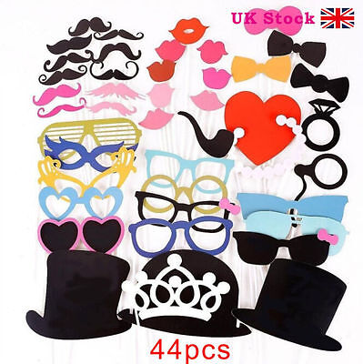 44pcs Photo Booth Props Moustache on A Stick Wedding Christmas Birthday Party