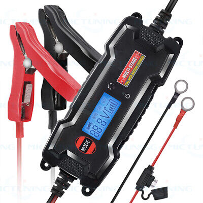 MICTUNING 12V 3.8A Smart Fast Lead-acid Battery Charger for Car Motorcycles LCD