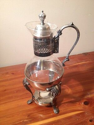 Vintage SILVER PLATE GLASS COFFEE / TEA CARAFE PITCHER w Footed Warmer Stand