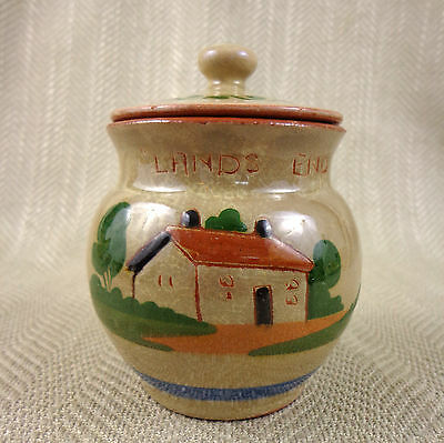 Vintage Torquay Pottery Jam Jar Pot Lidded Sauce Honey Motto Ware  Hand Painted