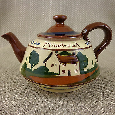 Vintage Teapot Torquay Pottery Tea Pot Motto Ware Hand Painted Watcombe Devon