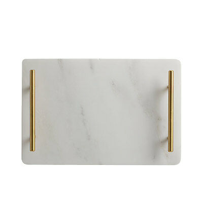 NEW Maxwell & Williams Mezze Marble Tray Gold Handle 30x20cm