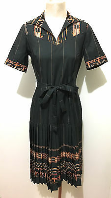 CULT VINTAGE '70 Abito Vestito Donna Jersey Optical Woman Dress Sz.S - 40