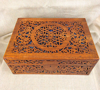 Antique Box Chest Wooden Fretwork Carved Large Work Sewing Jewelry Victorian Vtg