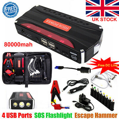 80000mAh Car Jump Starter Pack Booster Battery Charger 4 USB Power Bank UK
