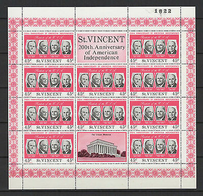 45c SAINT-VINCENT 1975 American Independence feuillet 10 timbres neufs  /B5F3