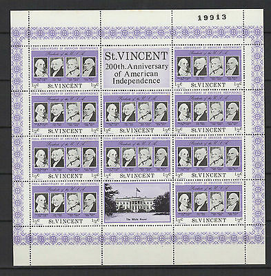 1/2c SAINT-VINCENT 1975 American Independence feuillet 10 timbres neufs  /B5F3