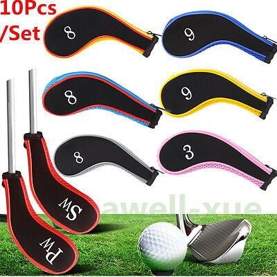 10pcs /Set Neoprene Iron Head Covers Head Golf Club Cover Sleeve Protective Case