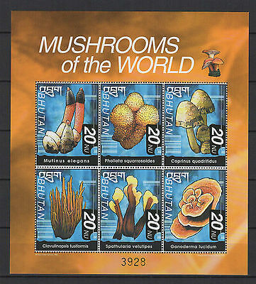 BHOUTAN 1999 mushrooms of the world feuillet timbres neufs  /B5F3