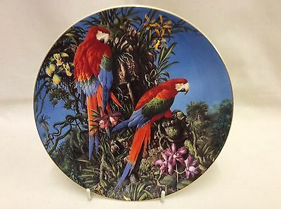 Red Green And Blue Parrot Plate - Green Winged Macaws - Fragile Paradise