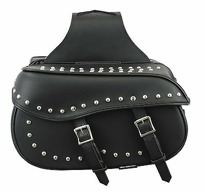 Genuine Leather Motorbike Metal dots Design Generous Saddle Bag Panniers Luggage