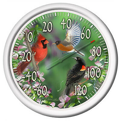 """Taylor 13.25"""" Dial Indoor And Outdoor Thermometer-BIRDS DIAL THERMOMETER"""