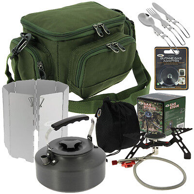 Fishing Tackle Brew Kit Set, Stove, Kettle, Wind Shield Gas Adaptor, Cutlery Bag