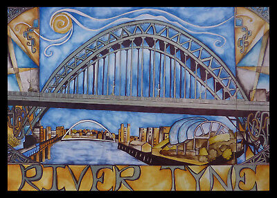 Large Tyne Newcastle Limited Edition Print Part Of Northumberland Nouveau Series