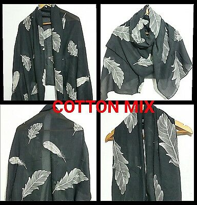 STUNNING FEATHER AND LEAF EMBROIDERED GREY Scarf,Shawl Stole Wrap,high quality