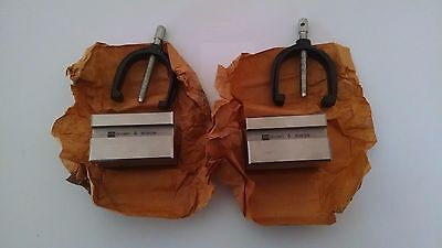 New Brown & Sharpe V Blocks- Matched Pair With Two Clamps