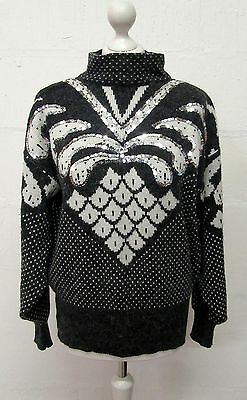 VINTAGE 80s RETRO GREY WHITE SEQUIN PATTERNED OVERSIZED JUMPER SIZE 14 KNITWEAR