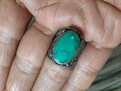 Islamic RING Turquoise STONE Nomadic ANTIQUE Afghan VINTAGE carving Intaglio 8.5